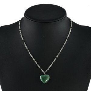 "Jewelry - NEW 3/4"" Shiny Green Adventurine Heart Necklace"